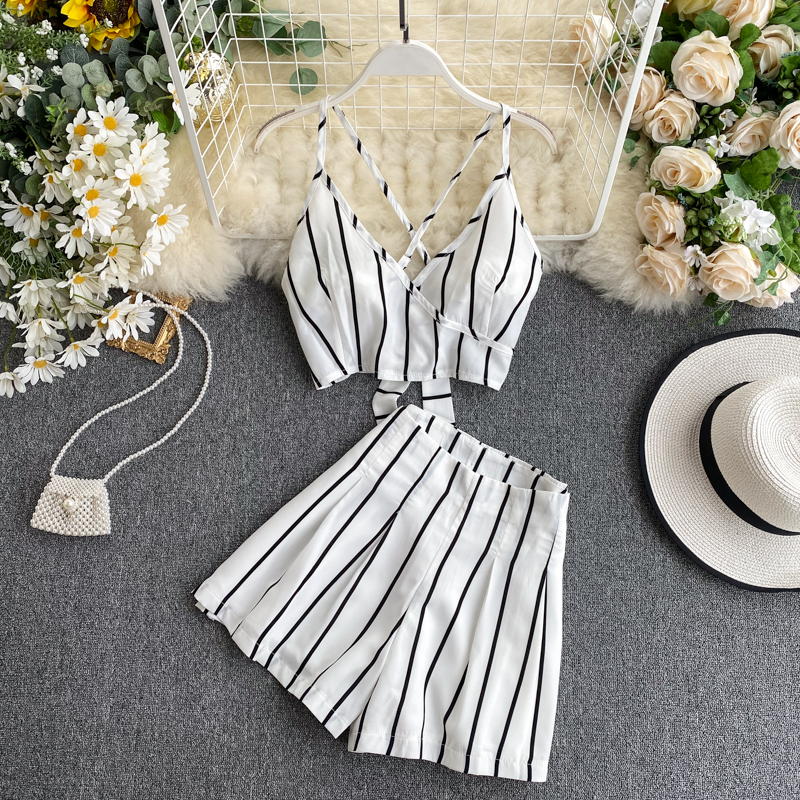 Fashion Women 2 Pieces Sets Sling Vest + Shorts Pants Beach Strips Sexy Hot Summer Clothes Sets Femme Cropped Tops Hotpants