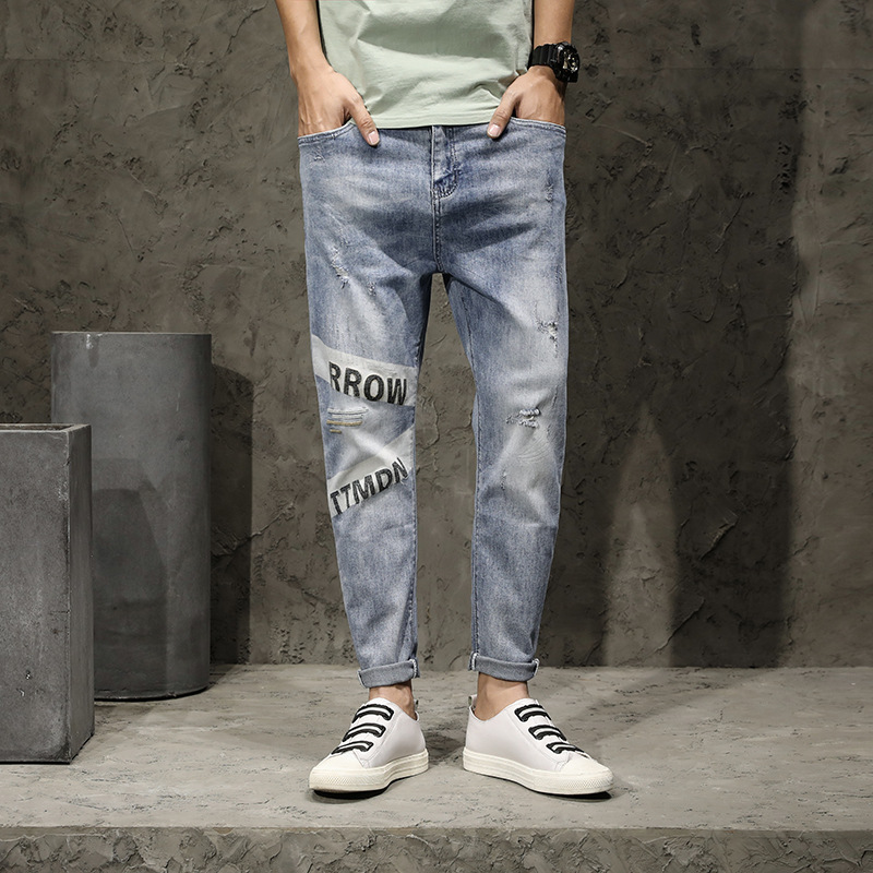 2020 Summer&Summer Style Jeans Men Leisure Loose Jeans Mens Denim Trousers Zipper Blue Hole Pants Jeans