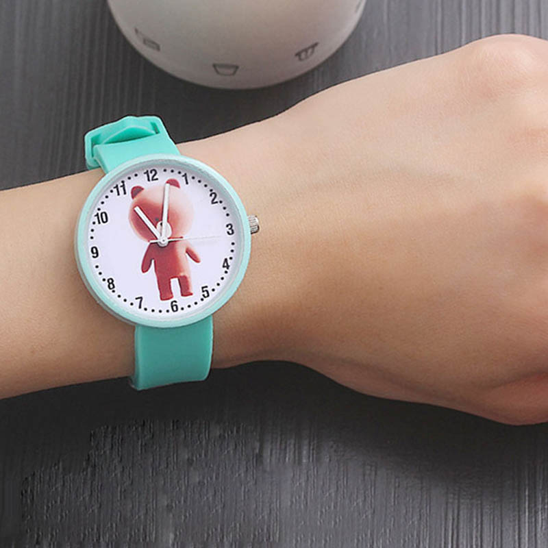 Fashion Simple Bear Pattern Quartz Watch Waterproof Silicone Wristwatch Young Girls Teen Student