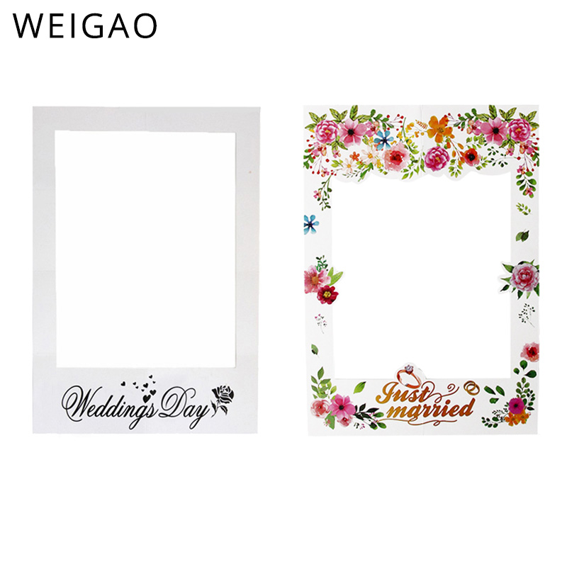 Wedding Day/Just Married Photo Booth Frame Floral Wedding Decoration Paper Photo Frame Props Bridal Shower Photography Props