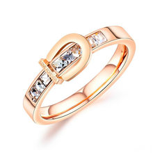Hot Sale Stainless Steel Inlay Stone Rose Gold Ring Fashion LOVE-FOREVER's Ring(China)