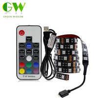 USB LED tira RGB cambiante TV LED iluminación de fondo 50CM 1M 2M 3M 4M 5M DIY 5V Flexible LED Luz de tira LED RGB 5050
