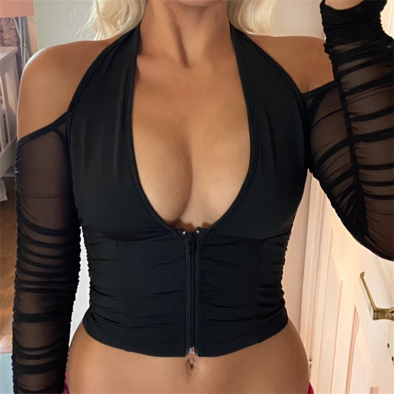 CHRONSTYLE 2021 Sexy V-neck Mesh T-shirt Tops Cropped Summer Women See Through Off Shoulder Long Sleeve Club Party Tee Shirts 1