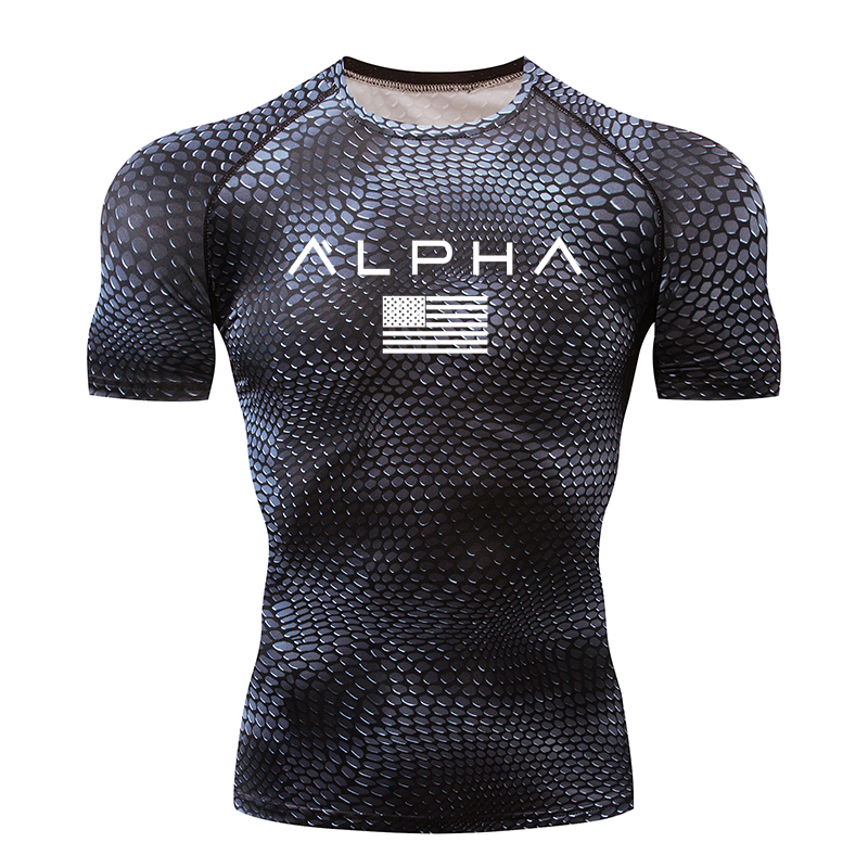 Men's sports T-shirt track and field compression sports T-shirt quick-drying running clothes running training clothes gym tights