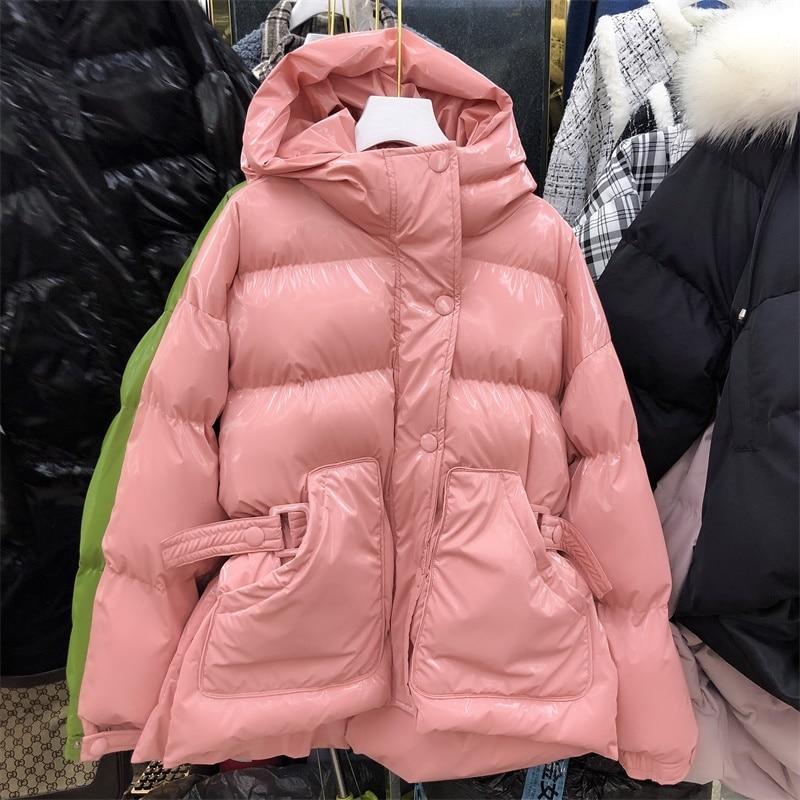 2019 vente directe limitée dans le temps épais hiver femmes manteau Net avec la taille coton vêtements lumineux visage couleur bonbon femmes