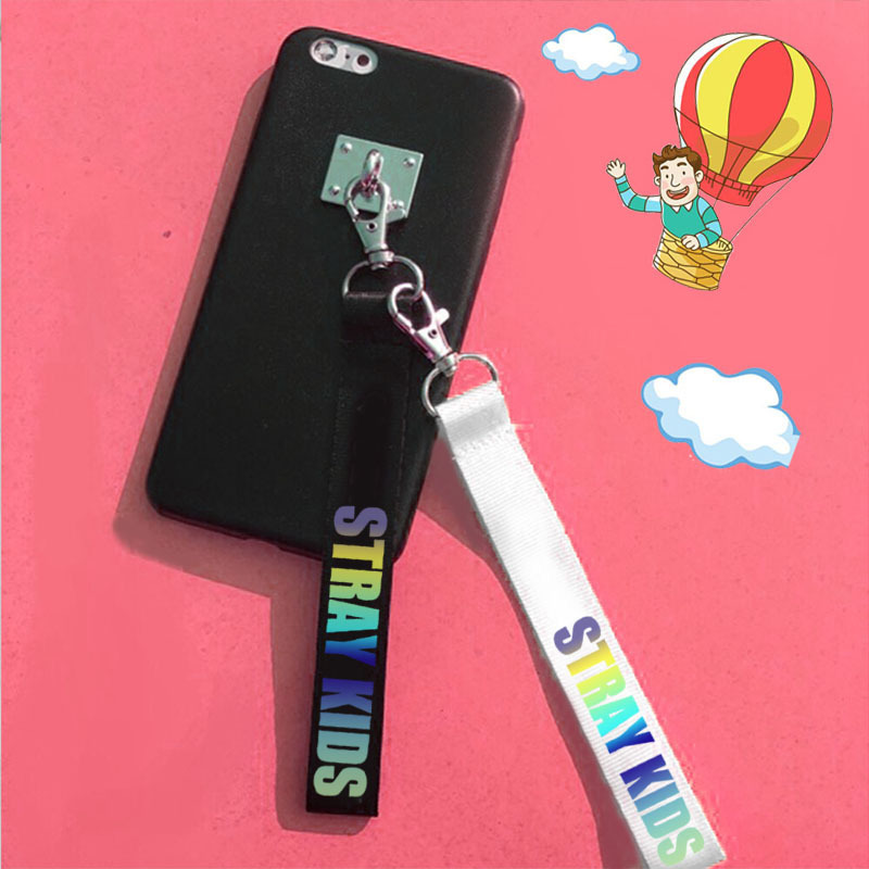 Straykids Keychain Laser Lanyard Ribbon Key Chains Letter Printed Keyring Accessories For Men Women