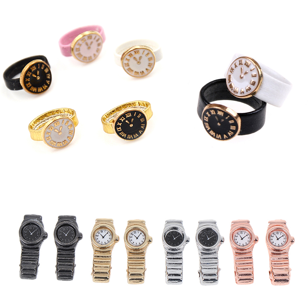 1PCS 1:12 Scale Miniature Watch For Dollhouse Decor Mini Furniture Toy Dolls Accessories