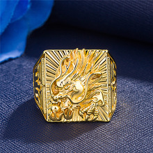 Domineering Gold Color Dragon Ring Carving Animal Adjustable Opening Cocktail Party Men's Ring Wedding Jewelry Anniversary Gift ferris file wax ring tubes men s ring wax tube ring model carving tools jewelry engraver carving material preferred