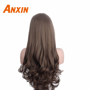 Image 3 - Anxin Long Curly Synthetic Wigs with Bangs Brown Womans Hair Heat Resistant High Temperature Kinky Cosplay Wig for Women