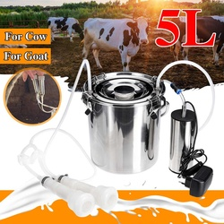 5L Electric Milking Machine Cow Goat Sheep Stainless Steel Bucket Suction Milker Vacuum Pump Household Milking Machines