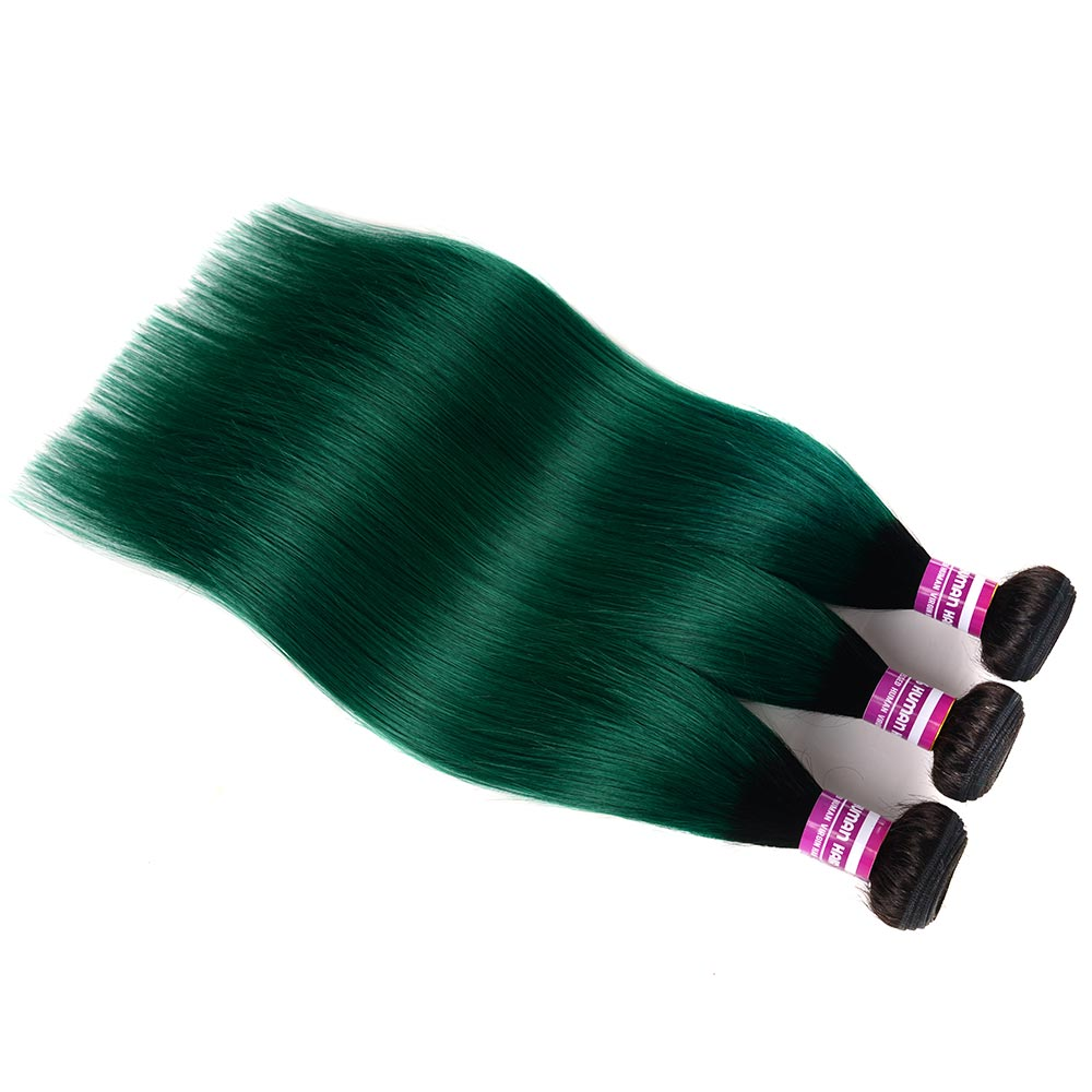 T1b Green Ombre 3 4 Brazilian Hair Weave Bundles Remy Human Hair Extension Colored Roots Straight Hair Bundles With Closure in 3 4 Bundles with Closure from Hair Extensions Wigs