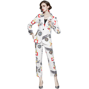 Women Cartoon Graffiti Print Suit Set Office Notched Jacket Blazer & High Elastic Waist Pants Autumn White 2 pieces set k6558
