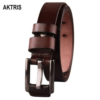 AKTRIS Top Quality Solid Cow Cowhide Leather Belts Simple Alloy Buckle Metal Belt for Women Actual Picture Showing FCO037