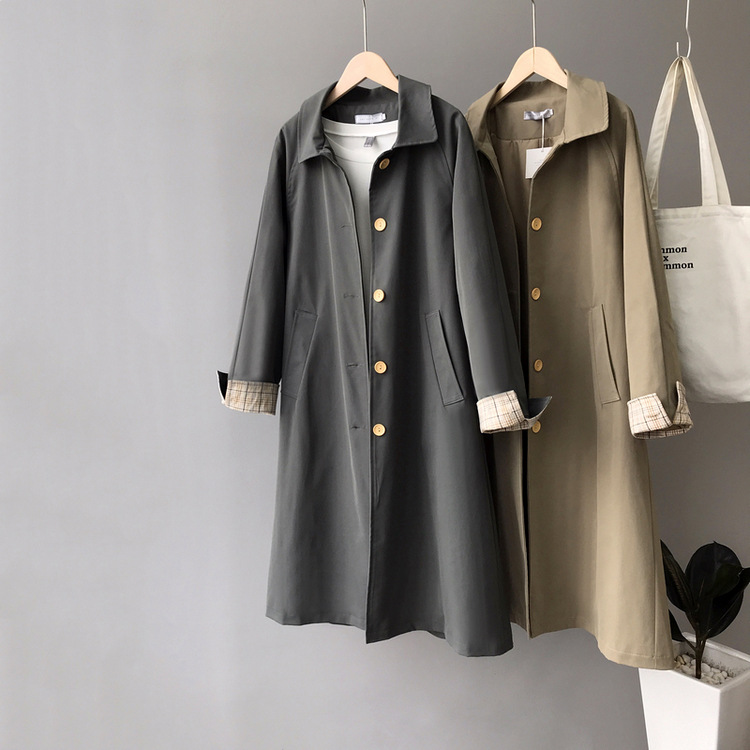 Retro Single-breasted Long Trench Coat With Contrast Cuffs Gray Khaki Coat
