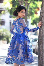 Royal Blue Applique Lace Ladies Cocktail Party Evening Formal Dress Knee Length Ball Gown Long Sleeves Prom Homecoming Gowns(China)