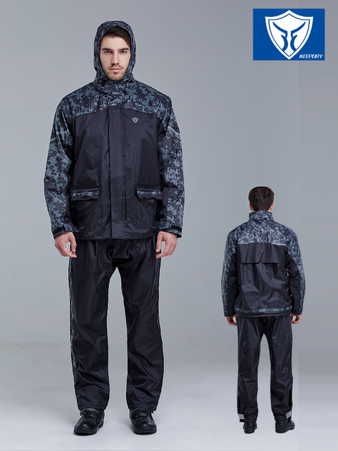 Camouflage Rain Coats Rain Pants Suit Men's Outdoor Rain Jacket Motorcycle Raincoat Black Thick Waterproof Anti-Heavy Gift Ideas 2