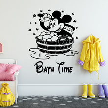 Disney Mickey Mouse Wall Stickers for kids bathroom accessories Home Decorative Vinyl  Kids Room Decoration