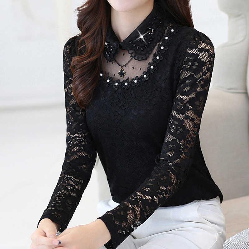 Wanita Atasan dan Blus 2019 Renda Blus Wanita Atasan Kemeja Hitam Berlian Padat Peter Pan Collar Plus Ukuran Tops Blusas 7144 50