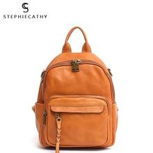 SC Italian Leather Backpacks For Women Vintage Style Tassel Casual Shoulder Bags School Bag Female Functional Leather Knapsacks