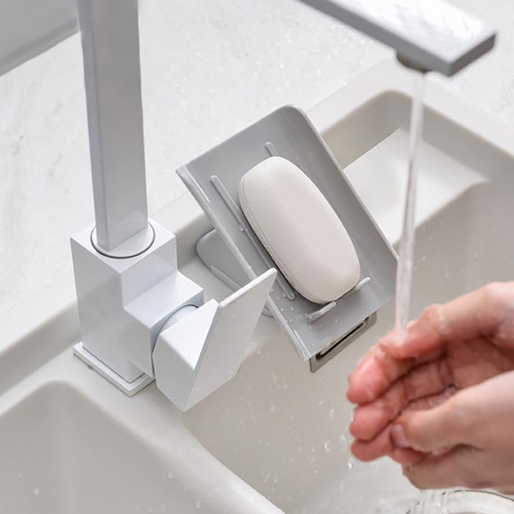 Creative Beveled Soap Box Plastic Soap Holder Kitchen Sink Cleaning Storage