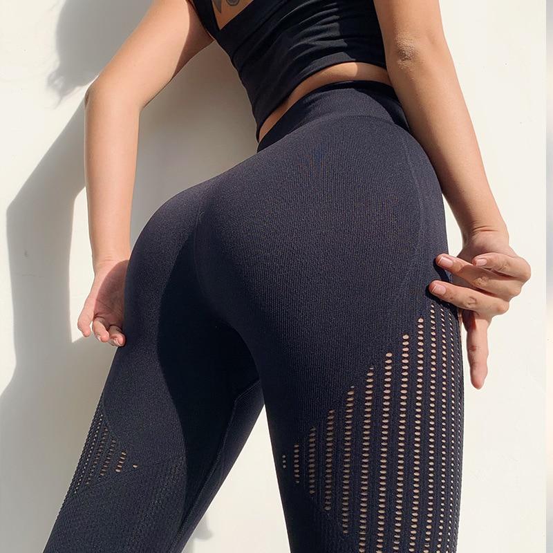 Wmuncc Energy Seamless Gym Legging Women Summer Thin Yoga Pant Breathable Fitness Sports Capri Pant Hollow Out Design High Waist