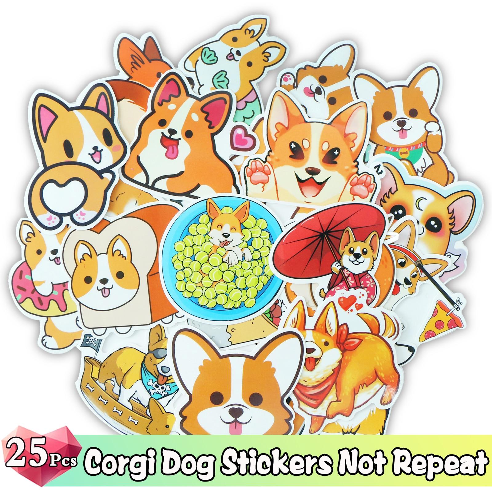 40 Pcs DIY Corgi Dog Stickers Scrapbooking Crafts Cartoon Mixed Sticker Kawaii