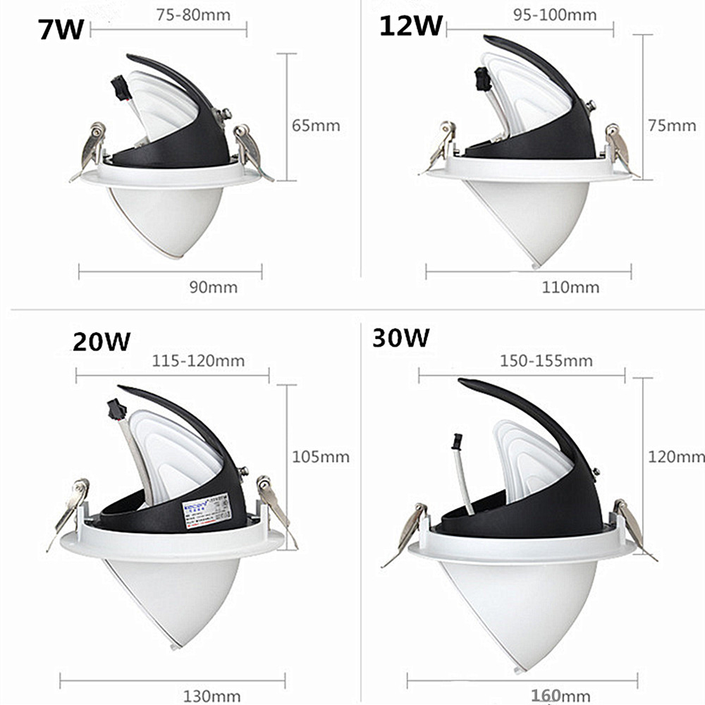 LED Downlight 7W 12W 20W 30W Ceiling Downlights Adjustable 360D Rotation Ceiling Spot Light AC85-260V Aluminum Downlights With Driver -6