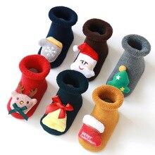 цена на Autumn and winter new baby Christmas socks cotton terry floor socks children Christmas socks silicone non-slip baby socks A pair