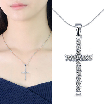 New 2020 Crystal Cross Pendant Necklace Long Sweater Chain Necklaces For Women Girls Jewelry Accessories image