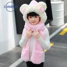 Scarf Warm-Neck Autumn Winter Children New And DIANRUO with Hat Gloves Three-Piece Fur