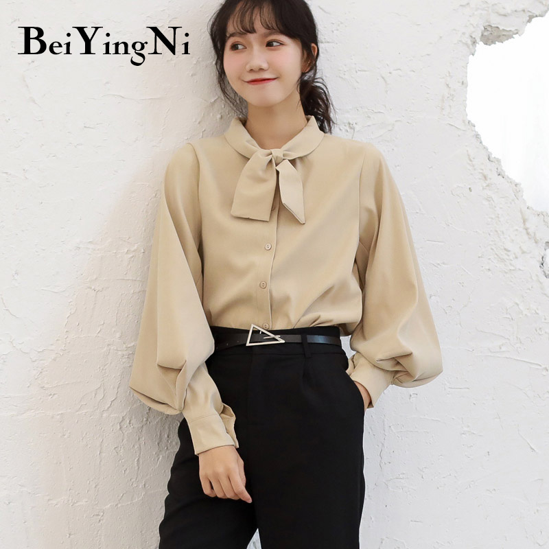 Beiyingni Fashion Casual Bow Tie Blouses Womens Tops Oversized Vintage Solid Color Shirts Female Autumn Winter Long Sleeve Blusa 7
