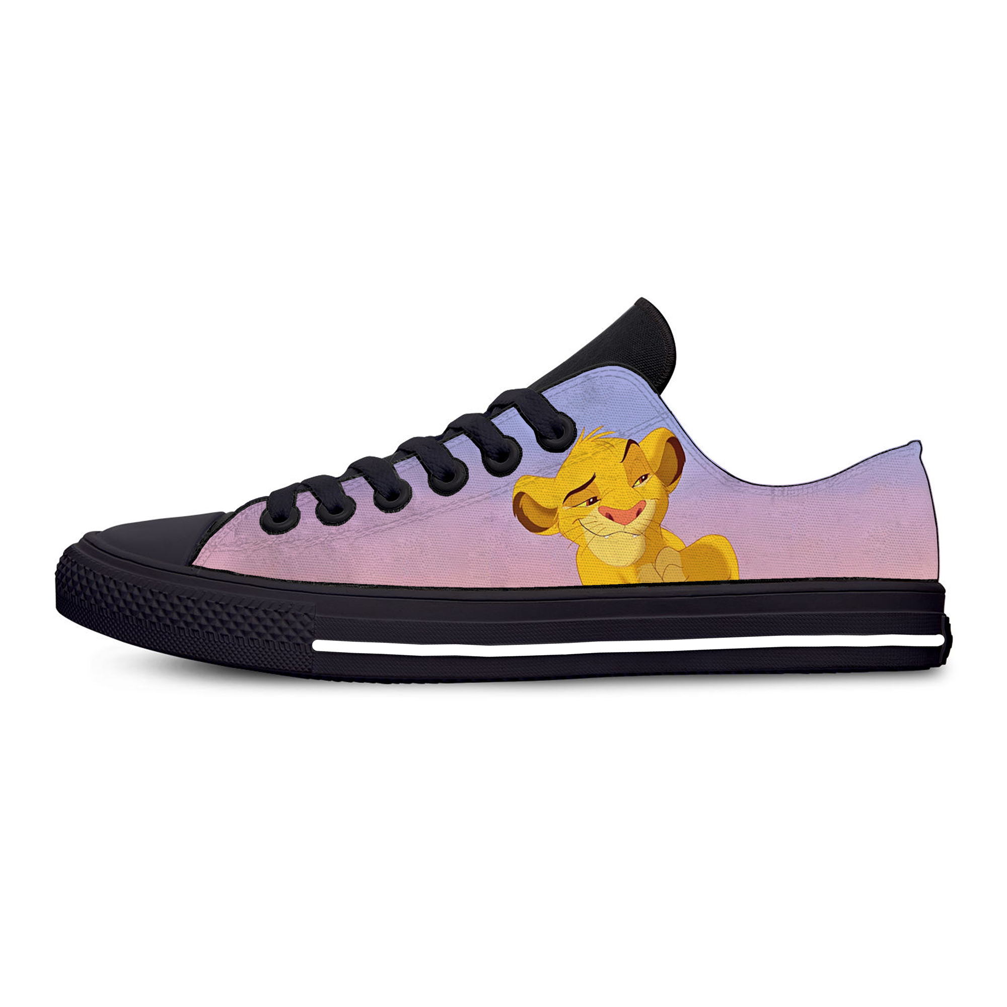 Lion King Cartoon Anime Simba Nala Fashion Funny Casual Canvas Shoes Low Top Lightweight Breathable 3D Print Men Women Sneakers