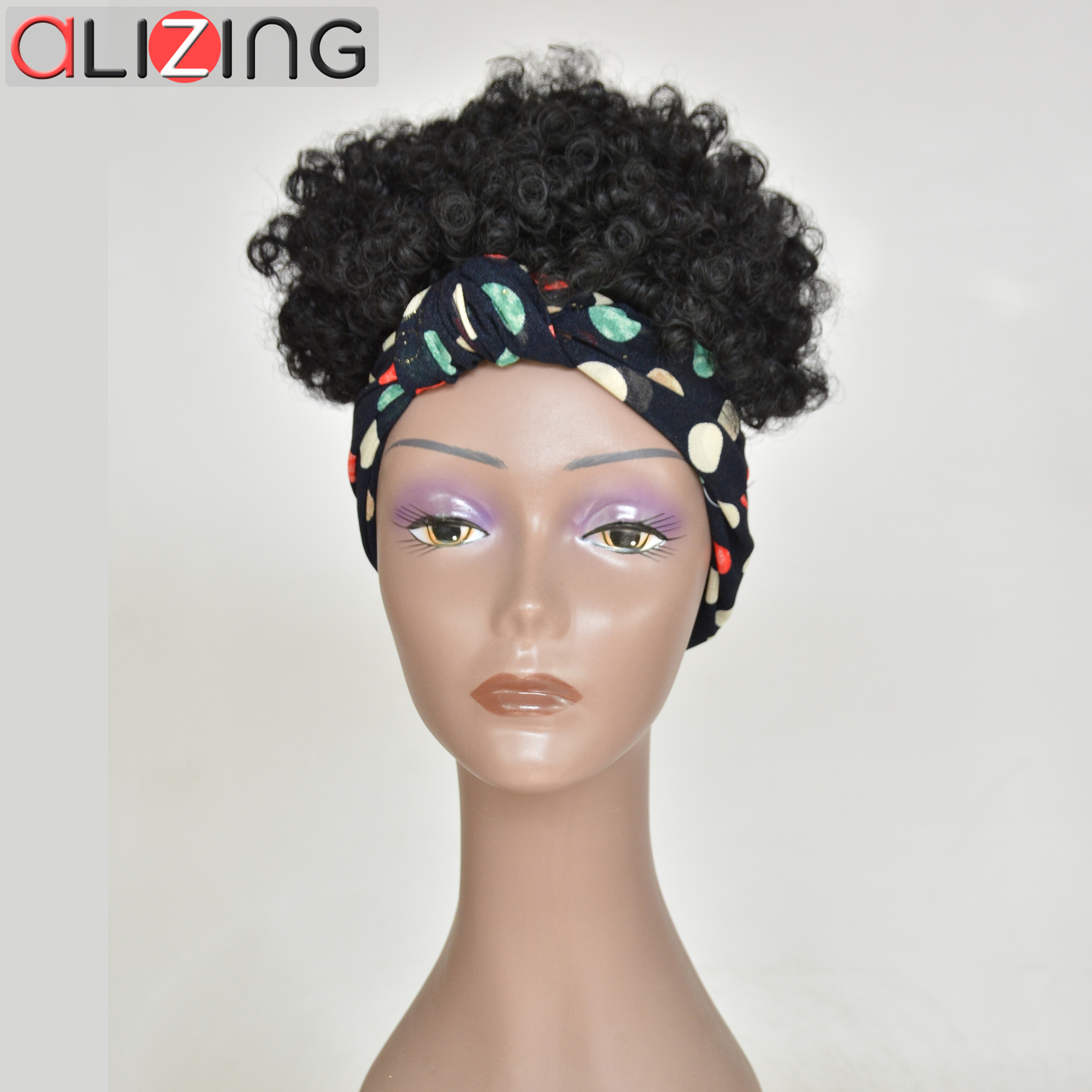 Alizing Curly Short Wig Synthetic With Headband High Temperature FFiber For Black Women  African Hairstyles Natural Black Hair