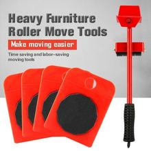 5Pcs Furniture Lifter Sliders Kit Profession Heavy Furniture Roller Move Tool Set Wheel Bar Mover Device Max Up for 200Kg