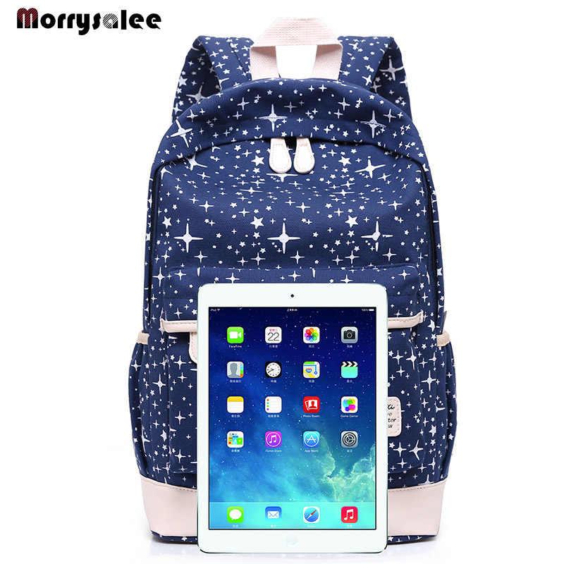 Mochila con impresión de lona bolsas escolares para chicas adolescentes bonito conjunto negro mochilas de viaje mochila femenina