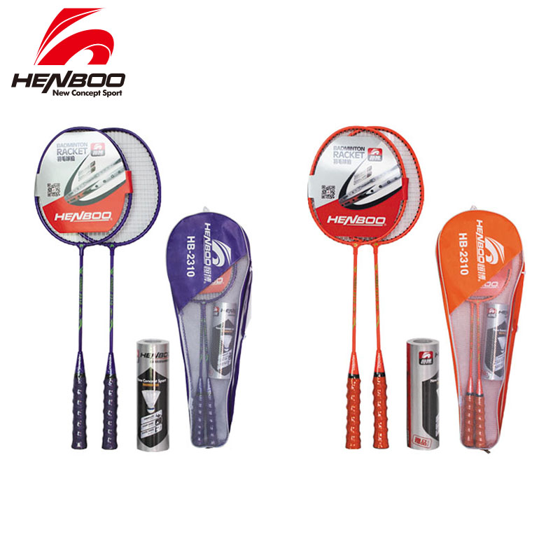 HENBOO Iron Alloy Badminton Racket Set Family Double Professional Badminton Racket Lightest Durable Standard Use Badminton 2310
