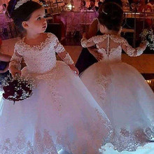 Dress Flower-Girl First-Communion-Gowns Tulle Long-Sleeve Party-Pageant Weddings Princess