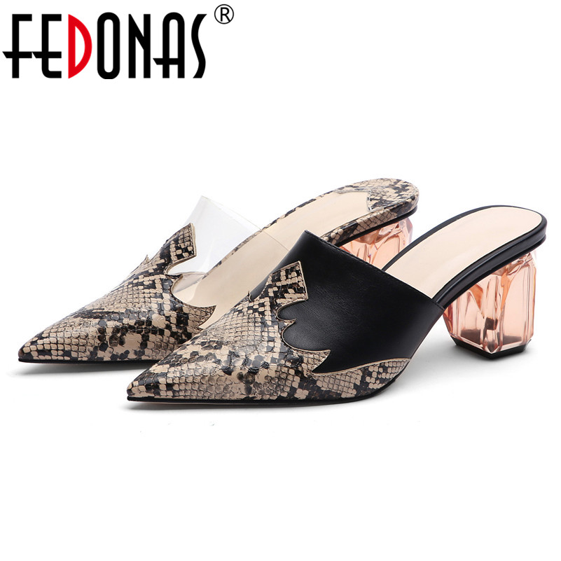 FEDONAS Sexy Pointed Toe Women Strange High Heeled Pumps Animal Prints Casual Basic Shoes Woman Spring Summer Plus Size Slippers