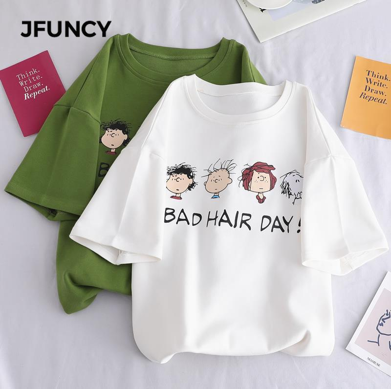 JFUNCY 2020 Fashion Candy Color Korean Women T Shirt Summer Cartoon Print 90s Girl Tops Short Sleeve Loose T-shirt Female Tees