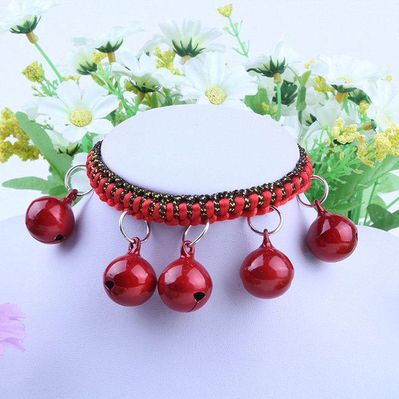 Pet Bell Teddy Pomeranian Small Dogs Neck Ring Auspicious Red String Weaving Bell Hand-woven Bell Neck Ring