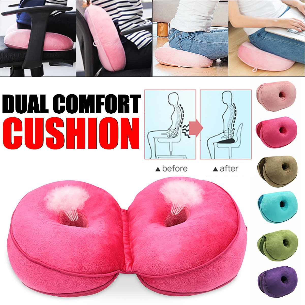 Dual Comfort Seat Cushion Memory Foam Seat Massage For Shaping Sexy Buttock Lift Hips Up Cushion Pad Lumbar Coccyx Protect New