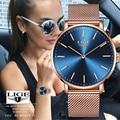 LIGE розовое золото женские деловые кварцевые часы женские топ брендовые Роскошные женские наручные часы девушка часы Relogio Feminin + коробка