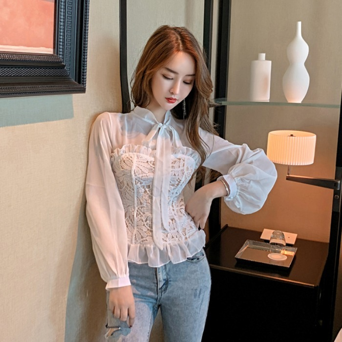 Spring Fashion New Style Lace-up Bow Lace Joint Mock Two-Piece Chiffon Transparent Flounced Tops Women's Fashion
