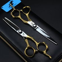 6.0 Inch Japan Steel 440C Barber Hairdressing Scissors Cutting Shears Thinning Scissors Professional Human Hair Scissors