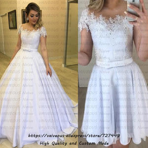 vestido de noiva 2 em 1 Lace Beaded Two Piece Wedding Dress 2019 Short Sleeves Bride Dress Sexy Ball Gown 2 in 1 Wedding Dresses