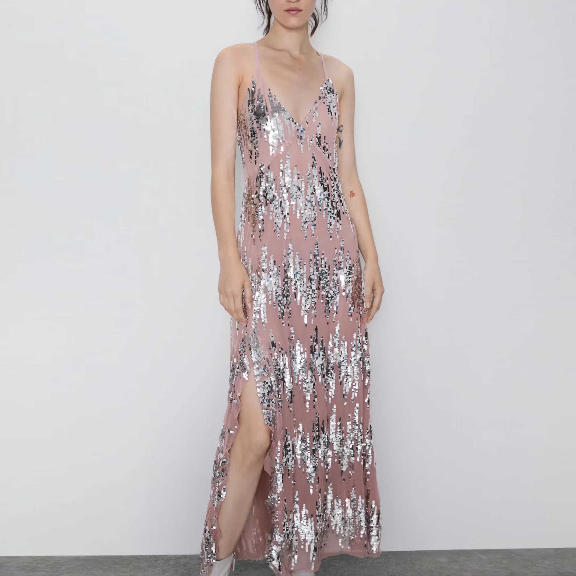 ZA sukienka z cekinami kobiety seksowna elastyczna głębokie dekolt w serek backless casual fashion stretch dopasowana błyszcząca sukienka vestido