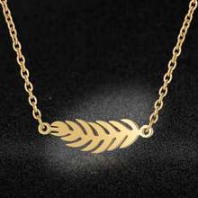 AAAA Quality 100% Stainless Steel Leaf Necklace for Women Never Tarnish Jewelry Necklace Super Fashion Charm Jewelry High Polish(China)