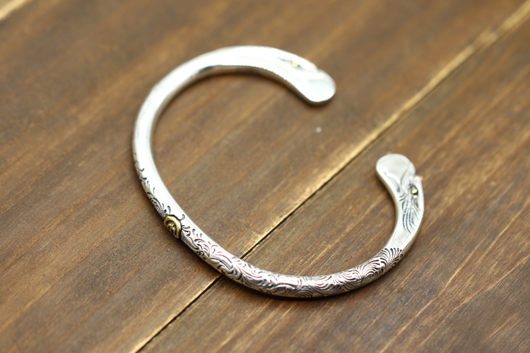 S925 Sterling Silver Open Bangle personalized retro fashion Indian bird feather style high end carved simple bracelets send gift - 3
