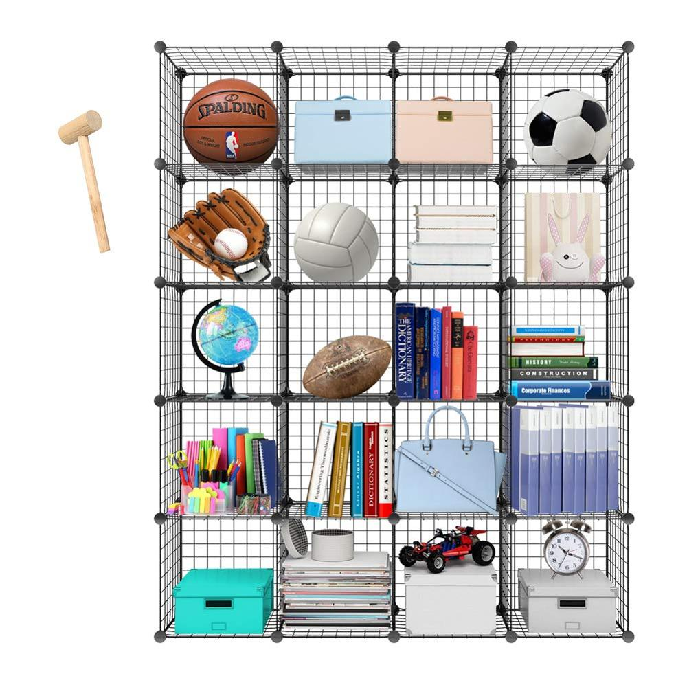 Metal Storage Bookcase Bookshelf Toy Rack Industrial Decoration DIY Storage Home Furniture Wire Standing Storage Wardrobe  C05
