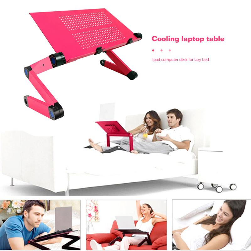 Adjustable Folding Table Portable Aluminum Alloy Cooling Laptop Desk Tray Notebook Stand For Sofa Bed Household Supplies